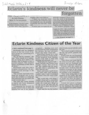 Eclarin's kindness will never be forgotten - Elarin Kindness Citizen of the Year