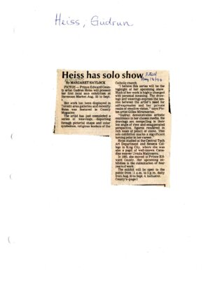 Heiss has solo show
