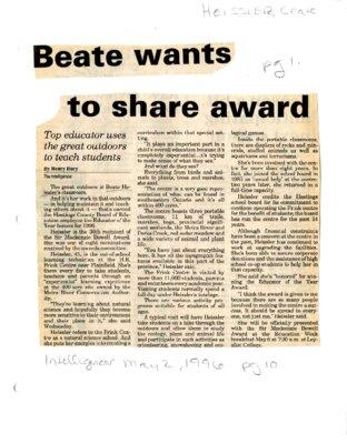 Beate wants to share award
