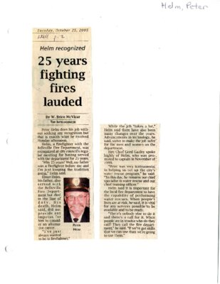 25 years fighting fires lauded