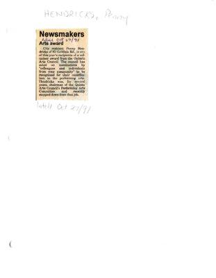 Newsmakers - arts award