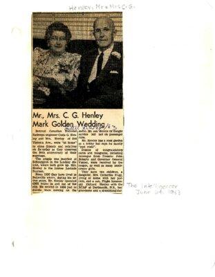 Mr., Mrs. C.G. Henley mark Golden Wedding