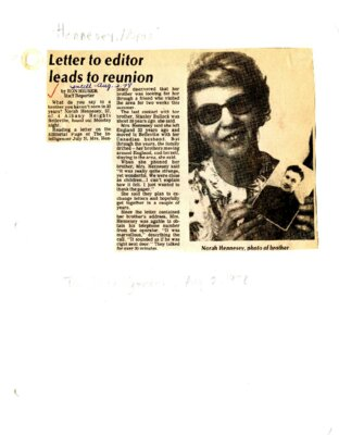 Letter to editor leads to reunion