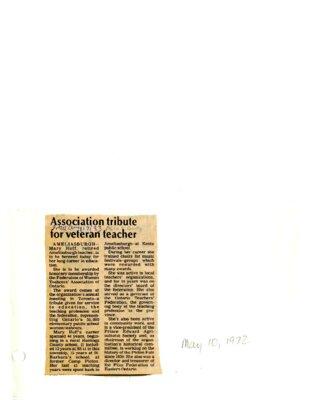 Association tribute for veteran teacher