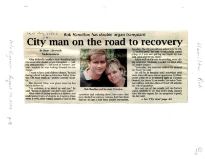 City man on the road to recovery