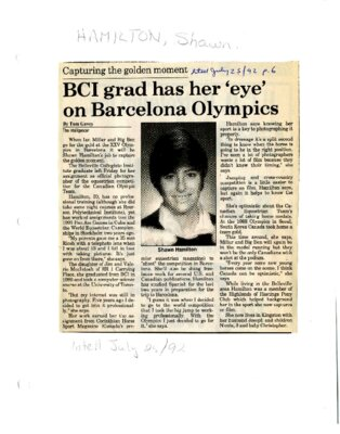 BCI grad has her 'eye' on Barcelona Olympics