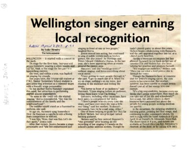 Wellington singer earning local recognition