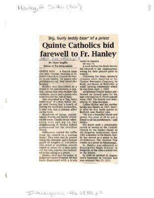 Quinte Catholics bid farewell to Fr. Hanley