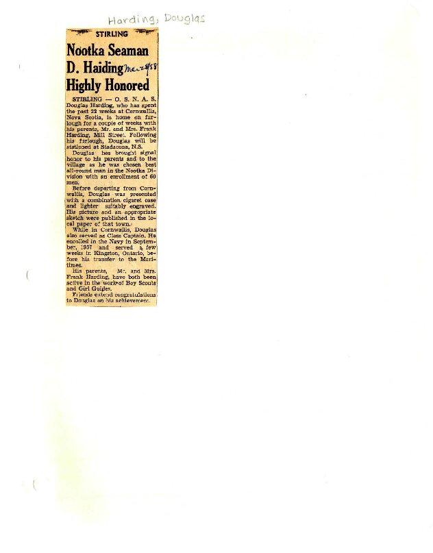 Nootka Seaman D. Haiding (Harding) highly honored