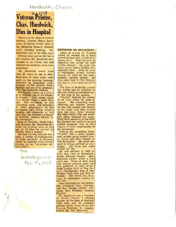 Veteran printer Chas. Hardwick, dies in hospital