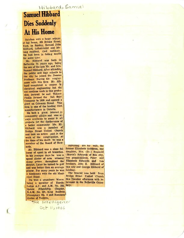 Samuel Hibbard dies suddenly at his home