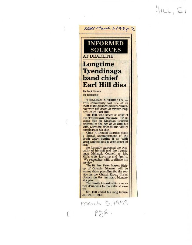 Longtime Tyendinaga band chief Earl Hill dies