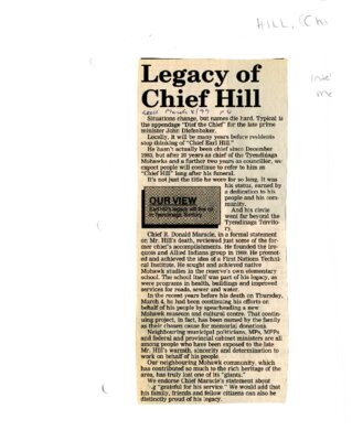 Legacy of Chief Hill