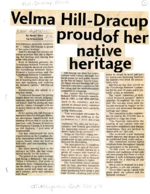 Velma Hill-Dracup proud of her native heritage