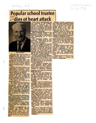 Popular school trustee dies of heart attack