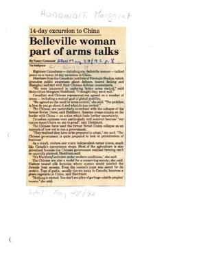 Belleville woman part of arms talks