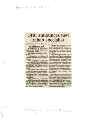 QHC announces new rehab specialist