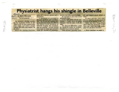 Physiatrist hangs his shingle in Belleville