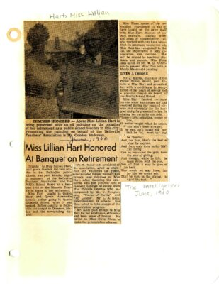 Miss Lillian Hart honored at banquet on retirement