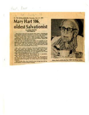 Mary Hart 106, oldest Salvationist