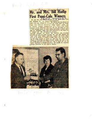 Mr and Mrs Bill Haslip first Pepsi-Cola winners