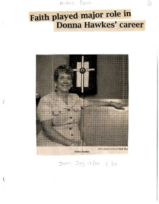 Faith played major role in Donna Hawkes' career