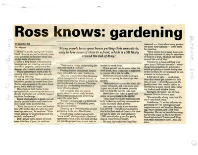 Ross knows: gardening