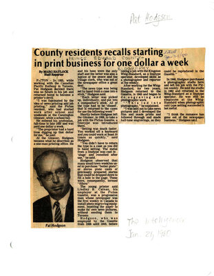County residents recalls starting in print business for one dollar a week