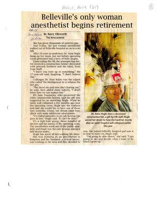 Belleville's only woman anesthetist begins retirement