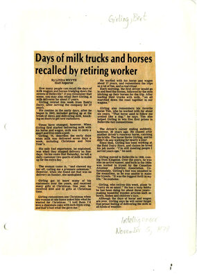 Days of milk trucks and horses recalled by retiring worker