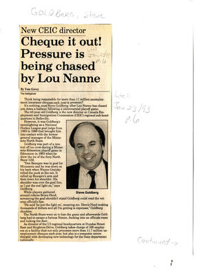 Cheque it out! Pressure is being chased by Lou Nanne