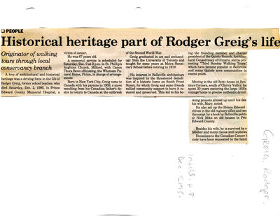 Historical heritage part of Rodger Greig's life