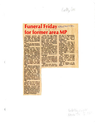 Funeral Friday for former area MP