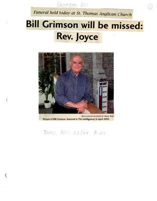 Bill Grimson will be missed: Rev. Joyce
