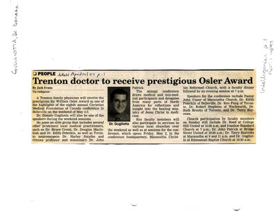 Trenton doctor to receive prestigious Osler Award