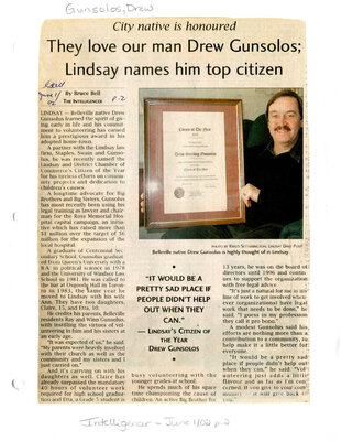 They love our man Drew Gunsolos; Lindsay names him top citizen