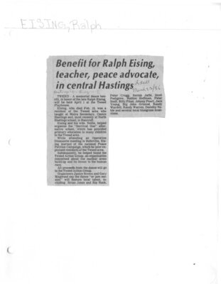 Benefit for Ralph Eising, teacher, peace advocate, in central Hastings