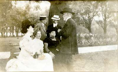 Whatmough and Gallagher family members out of doors,  ca 1901