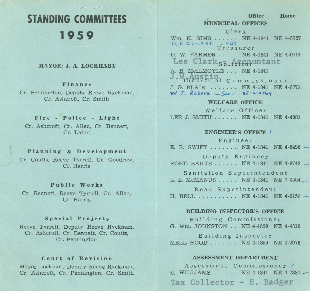 Town of Burlington - Members of 1959 Council and Standing Committees