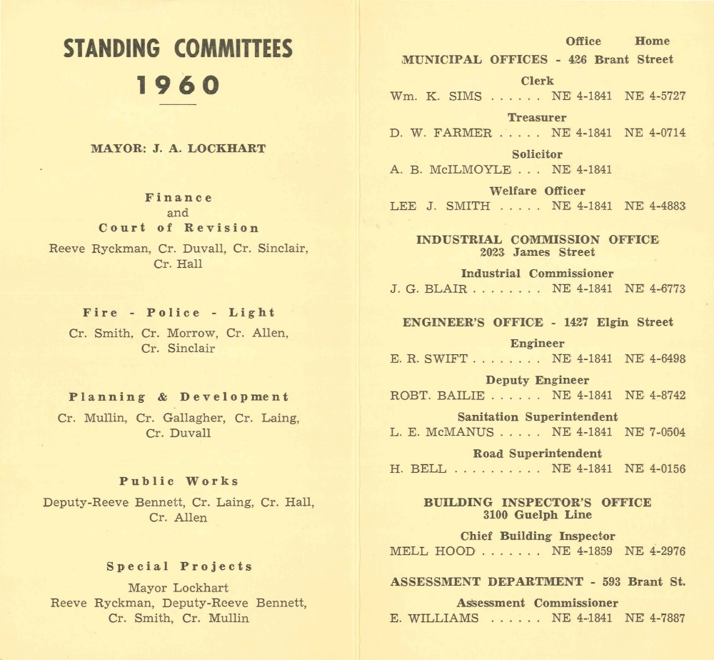 Town of Burlington - Members of 1960 Council and Standing Committees