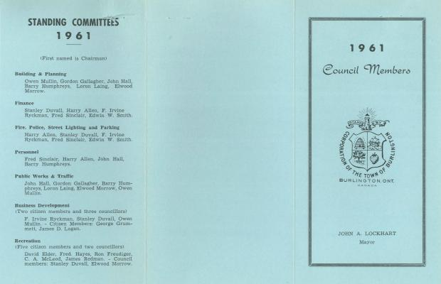 Town of Burlington - 1961 Council Members and Standing Committees