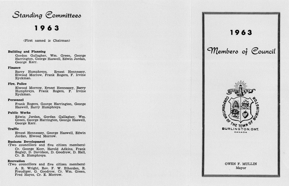 Town of Burlington - 1963 Members of Council and Standing Committees