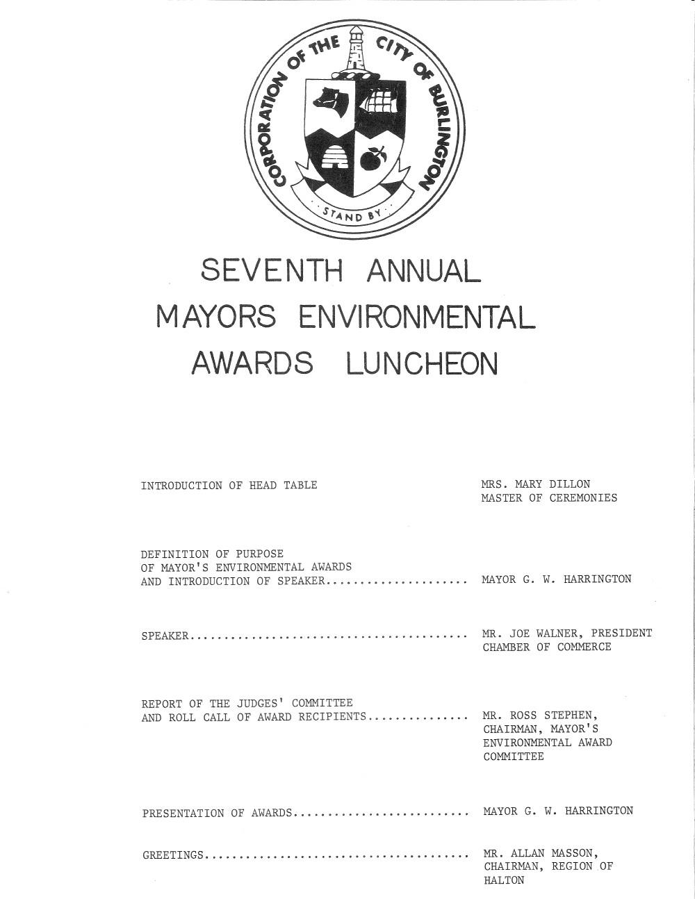 Mayor's Environmental Award Programme, Seventh Annual Awards, City of Burlington