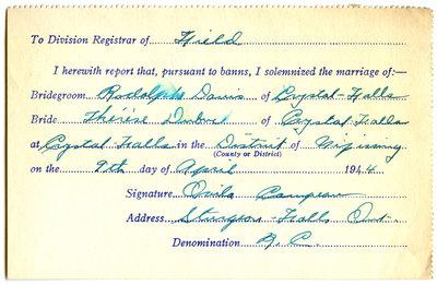 Certificat de mariage de / Marriage certificate of Rodolphe Danis & Thérèse Dubuc