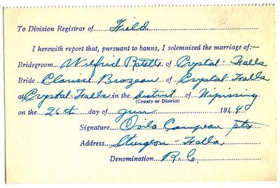 Certificat de mariage de / Marriage certificate of Wilfrid Ratelle & Clarisse Brazeau