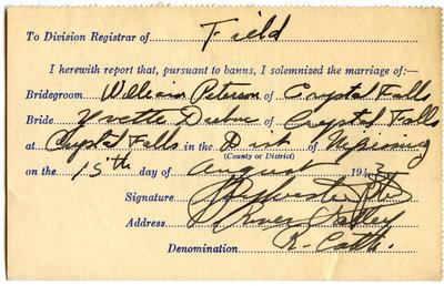 Certificat de mariage de / Marriage certificate of William Peterson & Yvette Dubuc