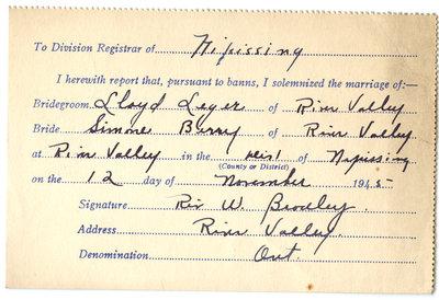 Certificat de mariage de / Marriage certificate of Lloyd Leger & Simone Berry