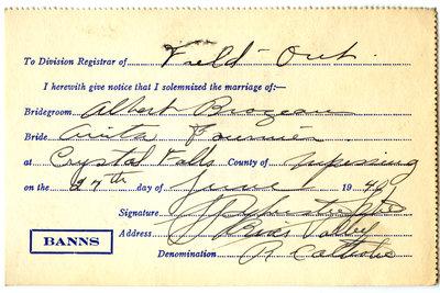 Certificat de mariage de / Marriage certificate of Albert Brazeau & Anita Fournier