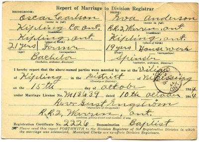 Certificat de mariage de / Marriage certificate of Oscar Carlson & Eva Anderson