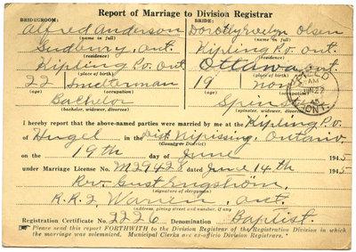 Certificat de mariage de / Marriage certificate of Alfred Anderson & Dorothy Roselyn Olsen